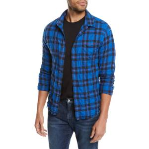 FRAME Men's Button-Front Long-Sleeve Plaid Work Shirt w/ Frayed Hem