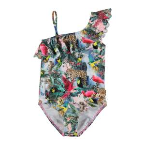 Molo Girl's Jungle Print Frill Detail One-Piece Swimsuit, Size 3-14
