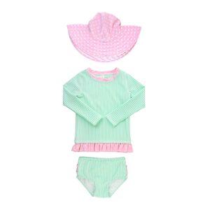 RuffleButts Girl's Seersucker Stripe Rash Guard Bikini w/ Sun Hat, Size 3M-10
