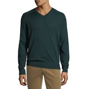 Vince Men's Wool V-Neck Sweater with Elbow Patches