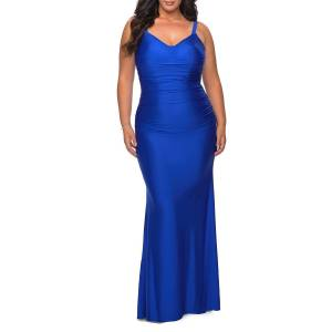 La Femme Plus Size V-Neck Sleeveless Ruched Jersey Gown - Size: 20W