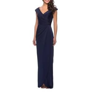La Femme Off-the-Shoulder Ruched Jersey Column Gown - Size: 20
