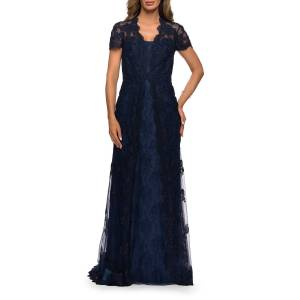 La Femme Scalloped Lace Short-Sleeve Tulle Gown - Size: 10