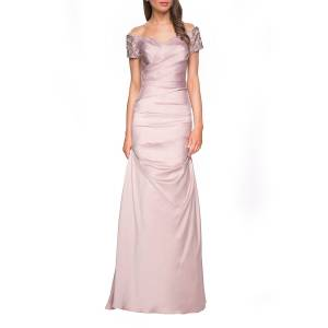 La Femme Ruched & Beaded Short-Sleeve Gown - Size: 14