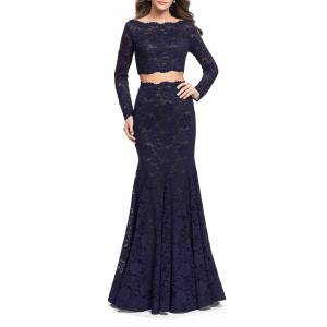 La Femme Embellished Two-Piece Long-Sleeve Lace Mermaid Gown - Size: 4