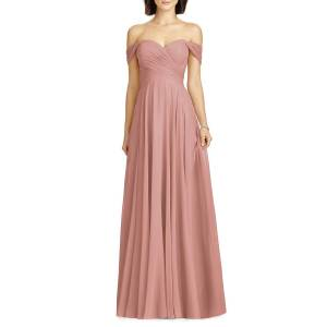 Dessy Collection Lux Chiffon Off-Shoulder Sweetheart A-Line Gown  - DESERT ROSE - Gender: female - Size: 0