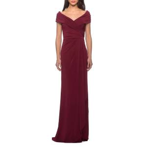 La Femme Short-Sleeve Ruched Jersey Gown Dress - Size: 20