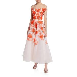 Ahluwalia Genevieve Embroidered Tea Length Illusion Dress