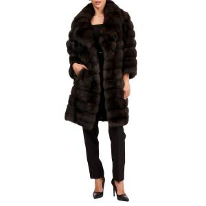 Maurizio Braschi Russian Sable Horizontal Fur Stroller Coat - Size: Medium
