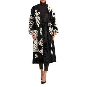 Oscar de la Renta Lamb-Intarsia Velvet Short Coat - Size: Small