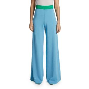 Maison Ullens Cashmere-Silk Reversible Two-Tone Wide Leg Pants  - BLUE/GREEN - Gender: female - Size: Large