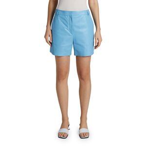 Maison Ullens Leather Mid-Length Shorts  - MEDIUM BLUE - Gender: female - Size: 40 (4 US)