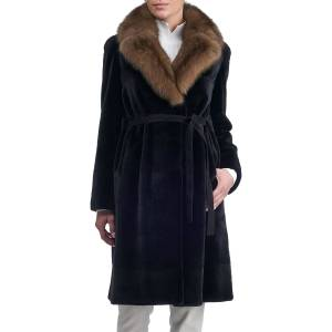 Gorski Belted Sheared Horizontal Mink Coat with Russian Sable Collar - Size: Medium