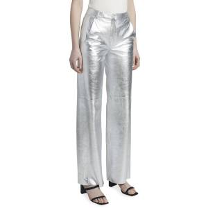 Maison Ullens Metallic Leather Full-Leg Pants  - SILVER - Gender: female - Size: 38 (2 US)