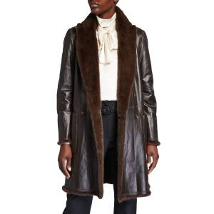 Brunello Cucinelli Reversible Mink/Leather Coat  - BROWN - Gender: female - Size: 46 IT (10 US)