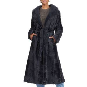 Gorski Lamb Belted Short Coat w/ Mink Fur Collar - Size: Medium