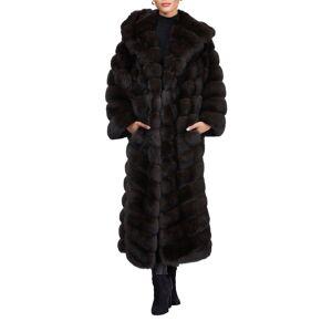 Maurizio Braschi Hooded Horizontal Sable Coat  - BROWN - Gender: female - Size: Medium