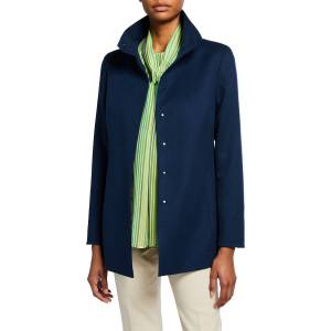 Akris Long Cashmere Stand-Collar Jacket - Size: 10