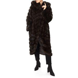 Gorski Long Chevron Russian Sable Hood Coat - Size: Medium