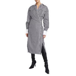 Proenza Schouler Striped Cotton Wrap Shirtdress - Size: 2