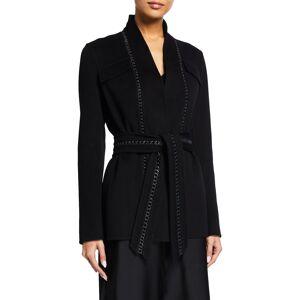 Gabriela Hearst Proteus Weaved-Back Belted Cashmere Blazer - Size: 42 IT (6 US)