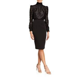 Badgley Mischka Collection Clip Print Poet Top Dress w/ Crepe Skirt
