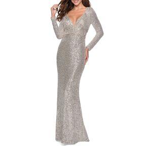 La Femme Sequin V-Neck Long-Sleeve Gown w/ Keyhole Back - Size: 16