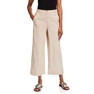 Eileen Fisher Organic Cotton Steel Wide-Leg Ankle Pants  - BEIGE - Size: 14