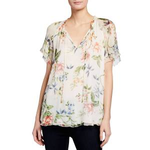 Johnny Was Fiorella Floral Print Silk Ruffle Blouse - Size: Medium