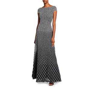 St. John Collection Novelty Diamond Knit Bateau-Neck Cap-Sleeve Gown with Open Back Detail And Tulle Under Skirt  - MULTI PATTERN - Gender: female - Size: 4