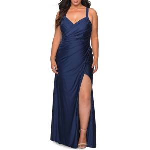 La Femme Plus Size Sleeveless Ruched Jersey Column Gown - Size: 20W