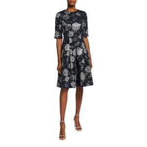 Rickie Freeman for Teri Jon Elbow-Sleeve Floral Brocade Cocktail Dress - Size: 12