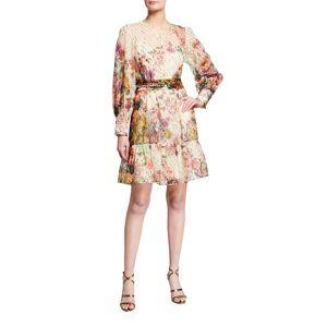 Kobi Halperin Pauline Floral Metallic Clip-Dot Dress - Size: Extra Large