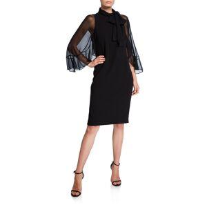 Rickie Freeman for Teri Jon Tie-Neck Sheer-Sleeve Crepe Sheath Dress  - BLACK - Gender: female - Size: 12