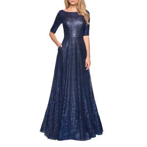 La Femme Sequin Elbow-Sleeve A-Line Gown w/ Pockets - Size: 18