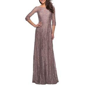 La Femme Floral Lace 3/4-Sleeve A-Line Gown - Size: 10