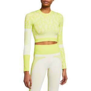 adidas by Stella McCartney Long-Sleeve Printed Active Crop Top - Size: Medium
