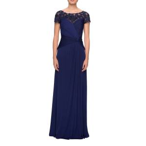 La Femme Ruched Jersey Short-Sleeve Gown - Size: 20