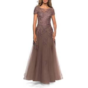 La Femme Floral Lace Applique Tulle A-Line Gown - Size: 14