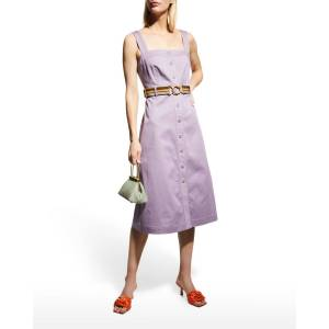 Tory Burch Belted Button-Front Sundress - Size: 14