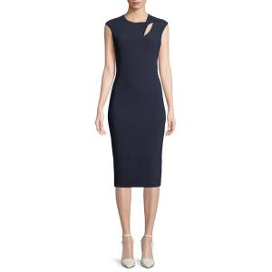 Theia Cap-Sleeve Crepe Cocktail Sheath Dress w/ Asymmetric Keyhole