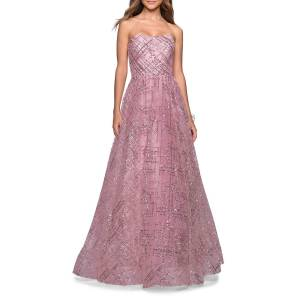 La Femme Sequined Strapless Sweetheart Ball Gown - Size: 20