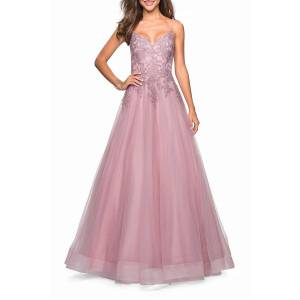 La Femme Sweetheart Sleeveless Tulle & Floral Lace Ball Gown - Size: 2