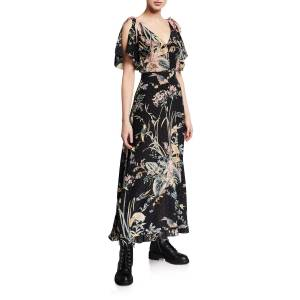 REDValentino Long Floral-Print V-Neck Tie-Shoulder Dress  - MULTI - Size: 38 IT (2 US)