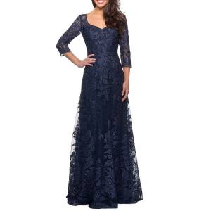 La Femme V-Neck 3/4-Sleeve Lace Gown with Mesh Illusion - Size: 12
