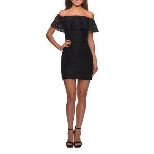 La Femme Off-the-Shoulder Ruffle-Sleeve Short Lace Dress - Size: 4