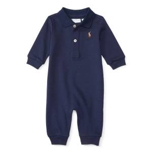 Ralph Lauren Pima Polo Coverall, Size 3-12 Months  - NAVY - Gender: male - Size: 9 Months