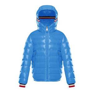 Moncler Albericlaque Quilted Hooded Puffer Jacket w/ Flag Trim, Size 8-14 - Size: 10