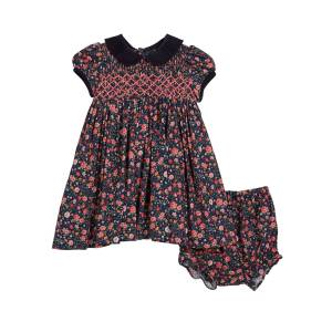 Luli & Me Floral Smocked Collared Dress w/ Bloomers, Size 12M-4T