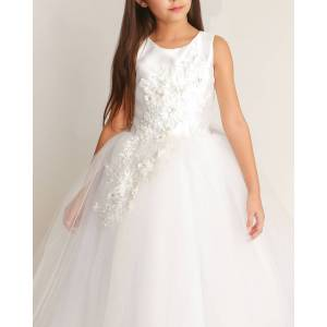 White Label by Zoe Girl's Bella Tulle 3D Applique Dress, Size 6-12  - WHITE - Gender: female - Size: 6